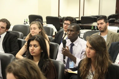 UN Intern asking a question to Ambassador Kodama