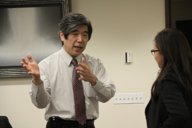 Ambassador Kodama answering questions from UN Intern in person